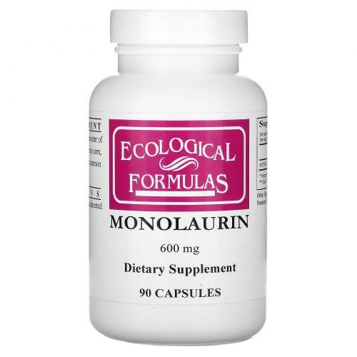 Cardiovascular Research Ltd., Экологические составы, монолаурин, 600 мг, 90 капсул