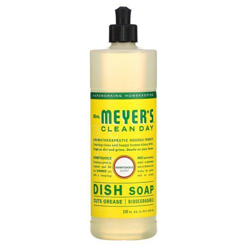 Mrs. Meyers Clean Day, Жидкость для мытья посуды, с запахом жимолости, 16 жидких унций (473 мл)