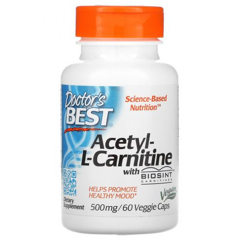 Doctor's Best, Best Acetyl-L-Carnitine HCl, 588 мг, 60 вегетарианских капсул