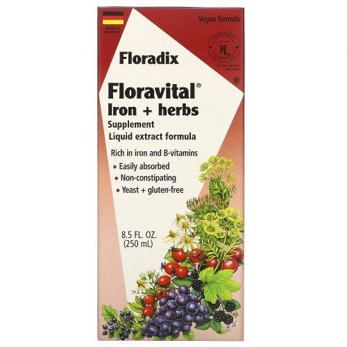 Flora, Салюс Флорадикс Флоравиталь, травяная добавка с железом, состав с жидкими экстрактами, 8.5 жидких унций (250 мл)