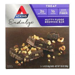 Atkins, Endulge, шоколадный торт с орехами 5 батончиков, 1.4 унции (40 г) каждый
