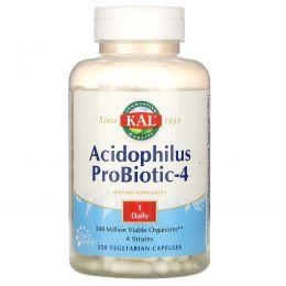 KAL, Пробиотик ацидофилус-4, 250 вегетарианских капсул