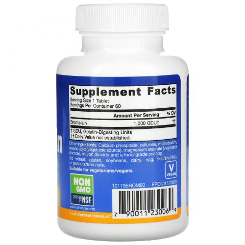 Jarrow Formulas, Бромелаин 1000, 500 мг, 60 легко растворяющихся таблеток