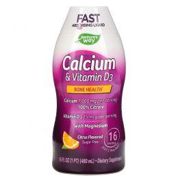 Wellesse Premium Liquid Supplements, Кальций и витамин D3, без сахара, с натуральным цитрусовым вкусом, 16 жидких унций (480 мл)