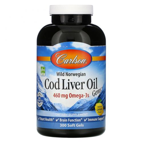 Carlson Labs, Wild Norwegian Cod Liver Oil Gems, натуральный лимонный вкус, 300 мягких таблеток