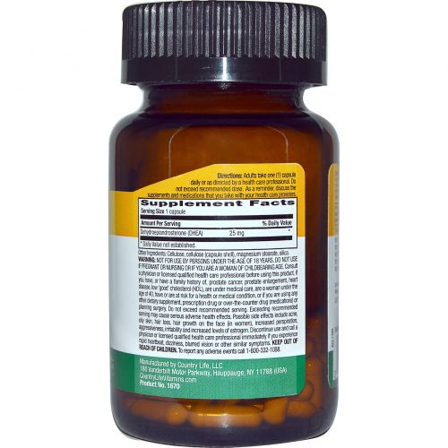 Country Life, ДГЭА (дегидроэпиандростерон), 25 мг, 90 вегетарианских капсул