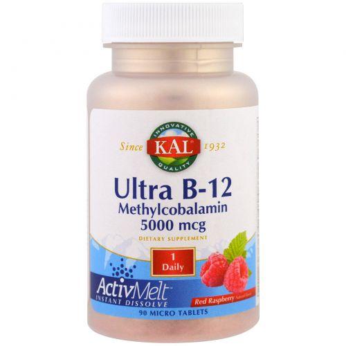 KAL, Ultra B-12 Methylcobalamin, Red Raspberry, 5000 mcg, 90 Micro Tablets