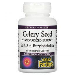 Natural Factors, Семена сельдерея, стандартизированный экстракт, 60 капсул в растительной оболочке