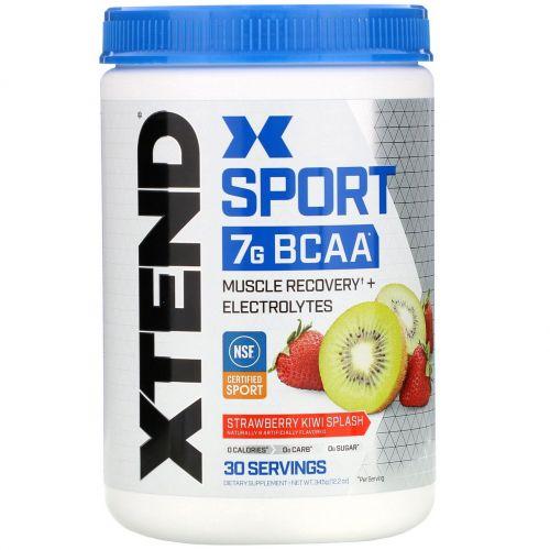 Scivation, Xtend Sport, 7г аминокислот с разветвленной цепью (BCAA), клубника и киви, 345г (12,2унции)