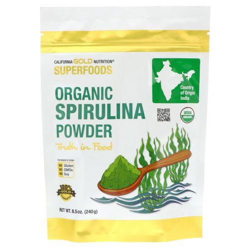 California Gold Nutrition, California Gold Nutrition, Superfoods, органический порошок из спирулины, 240 г