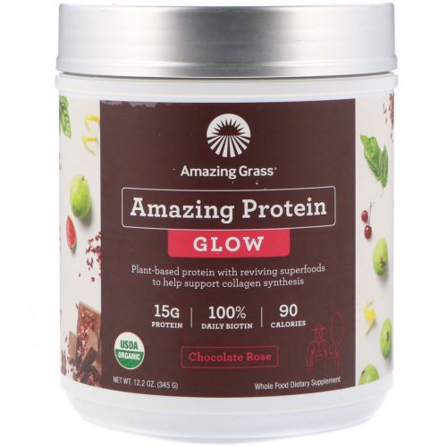 Amazing Grass, Amazing Protein, Glow, Chocolate Rose, 12.2 oz (345 g)
