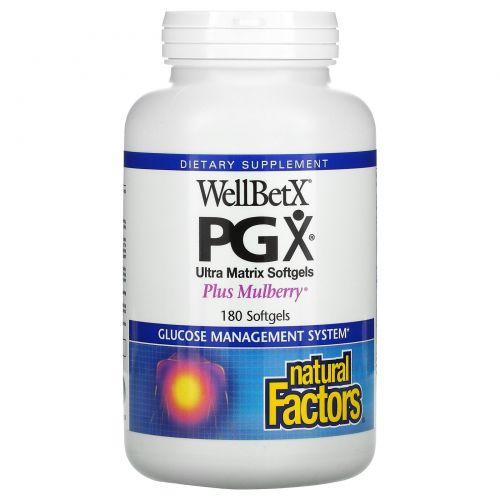 Natural Factors, WellBetX PGX, с шелковицей, 180 гелевых капсул