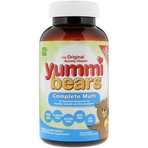 Hero Nutritional Products, Yummi Bears, мультивитаминный комплекс, абсолютно натуральные фруктовые вкусы и цвета, 200 жевательных медвежат