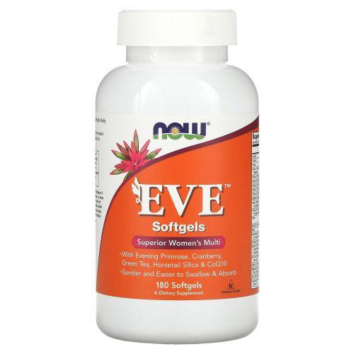 Now Foods, Мультивитамины в желатиновой оболочке для женщин EVE Superior, 180 капсул в желатиновой оболочке