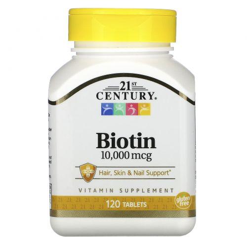 21st Century, Биотин, 10,000 мкг, 120 таблеток