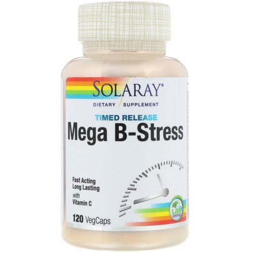 Solaray, Mega B-Stress, двухэтапный, пролонгированное время, 120 вегетарианских капсул
