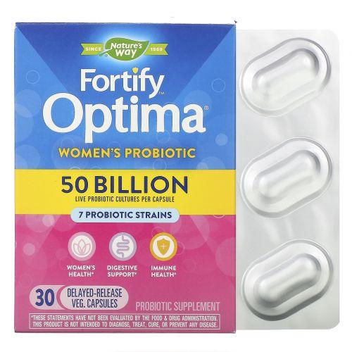 Nature's Way, Примадофилус Оптима, для женщин, 50 миллиардов бактерий, 30 капсул на растительной основе с отсроченным высвобождением