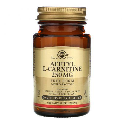 Solgar, Ацетил-L-Карнитин, 250 мг, 30 вегетарианских капсул