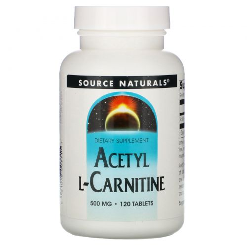 Source Naturals, Ацетил L-карнитин,  500 мг, 120 таблеток