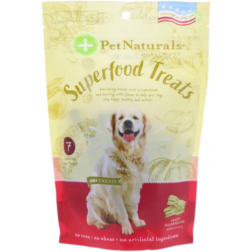 Pet Naturals of Vermont, Superfood Treats for Dogs, Crispy Bacon Recipe, 100+ Treats, 8.5 oz (240 g)