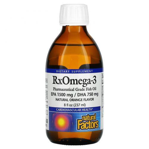 Natural Factors, Факторы Rx Омега-3, Рыбий жир фармацевтического качества, натуральный апельсиновый ароматизатор, 8 жидких унций (237 мл)