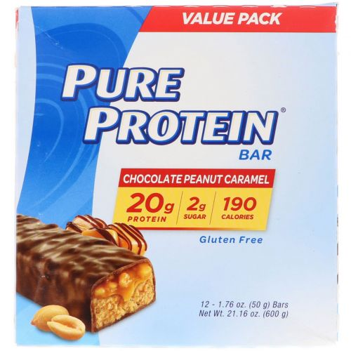 Pure Protein, Pure Protein Bar, Chocolate Peanut Caramel, 12 Bars, 1.76 oz (50 g)