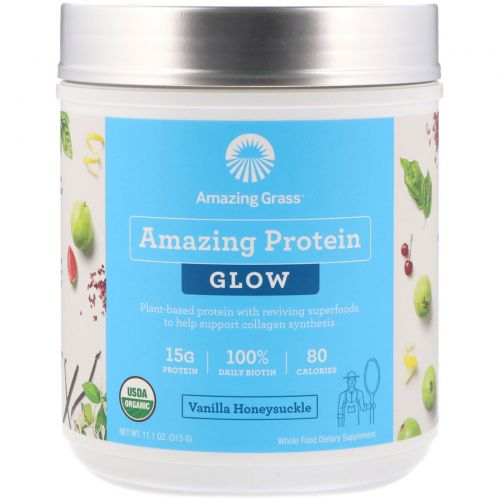Amazing Grass, Amazing Protein, Glow, Vanilla Honeysuckle, 11.1 oz (315 g)