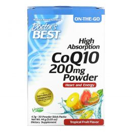 Doctor's Best, High Absorption CoQ10 Powder, Tropical Fruit, 200 mg, 30 Powder Stick Packs, 4.7 g Each