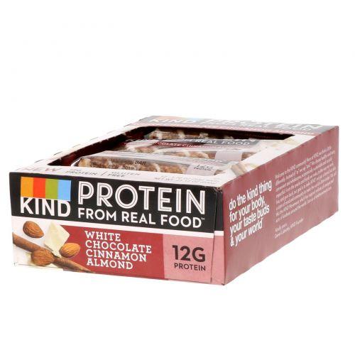 KIND Bars, Протеиновые батончики, белый шоколад с корицей и миндалем, 12 батончиков 1,76 унц. (50 г) каждый