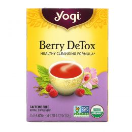 Yogi Tea, Berry DeTox, Без кофеина, 16 чайных пакетиков, 1.12 унций (32 г)