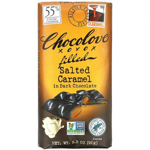 Chocolove, Соленая карамель в черном шоколаде, 3,2 унции (90 г)