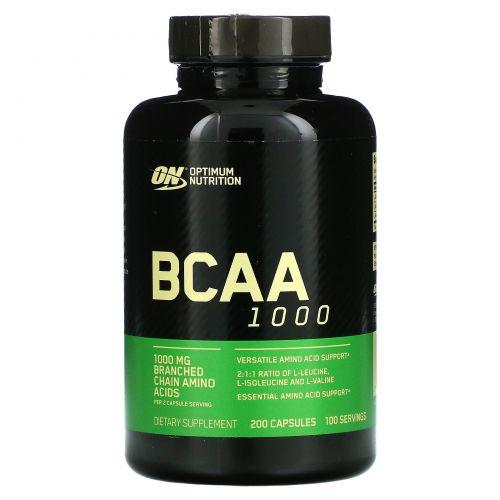 Optimum Nutrition, Mega-Size BCAA 1000, 1000 мг, 200 капсул