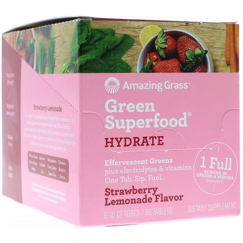 Amazing Grass, Green Superfood, шипучая зелень, клубника-лимон, 6 тюбиков по 10 таблеток каждый