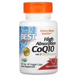 Doctor's Best, Коэнзим Q10 с высокой степенью поглощения, с биоперином, 400 мг, 60 растительных капсул