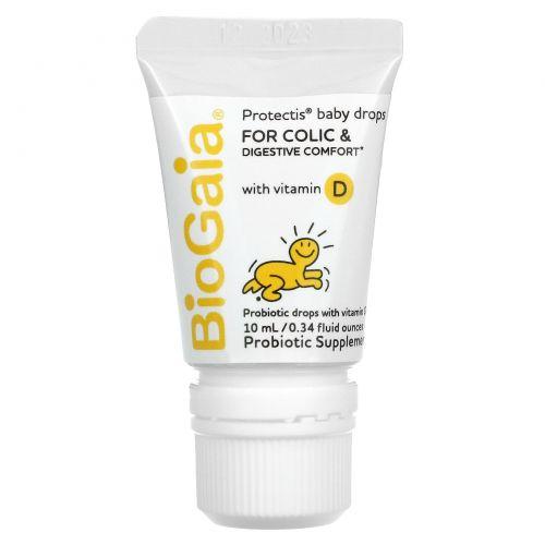 BioGaia, ProTectis, для малышей, с витамином D, здоровье пищеварительной системы, пробиотическая добавка, 0,34 ж. унц. (10 мл)