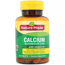 Nature Made, Кальций, магний и цинк, 100 таблеток