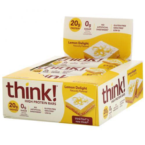 ThinkThin, Высокопротеиновые батончики, «Лимонное лакомство», 10батончиков по 60г (2,1унции)