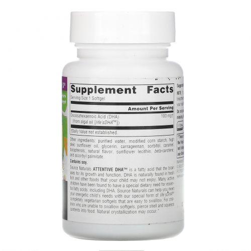 Source Naturals, ДГК для внимания, 100 мг, 60 капсул в растительной оболочке