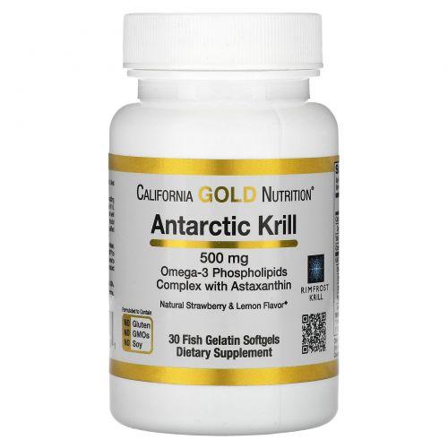 California Gold Nutrition, Жир арктического криля, с астаксантином, RIMFROST, натуральный клубничный и лимонный вкус, 500 мг, 30 желатиновых капсул-рыбок