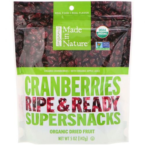 Made in Nature, Organic Cranberries Ripe & Ready Supersnacks, 5 oz (142 g)