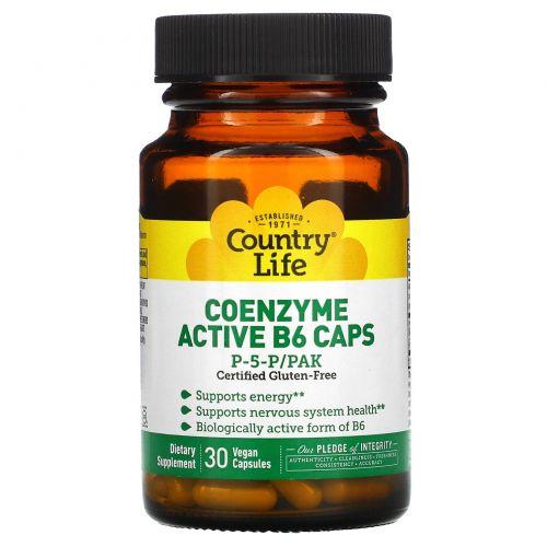 Country Life, Country Life, не содержит глютена, коферментный активный витамин B6 в капсулах, P-5-P/PAK, 30 вегетарианских капсул