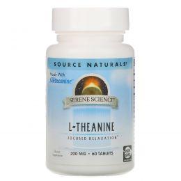 Source Naturals, L-теанин, 200 мг, 60 таблеток