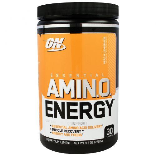 Optimum Nutrition, Энергия основных аминокислот, со вкусом персика и лимонада,  9.5 унции(270 г)