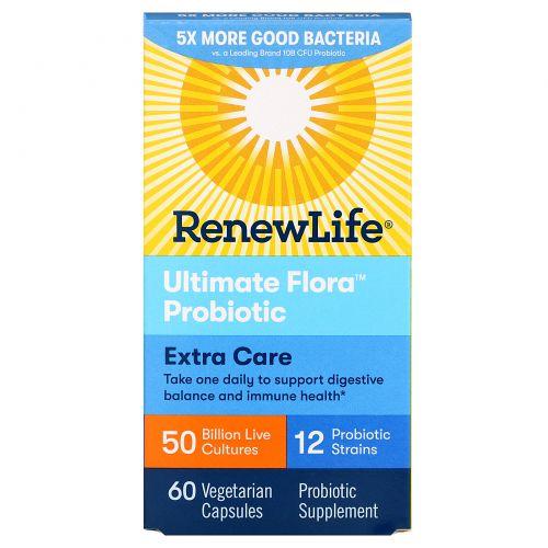 Renew Life, Ultimate Flora, Extra Care, 50 миллиардов, 60 вегетарианских капсул