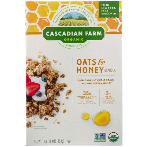 Cascadian Farm, Органическая гранола из овсяной крупы с медом , 16 унций (453 г)
