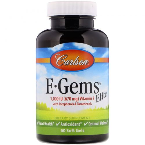 Carlson Labs, E-Gems Elite, 1,000 IU, 60 Soft Gels