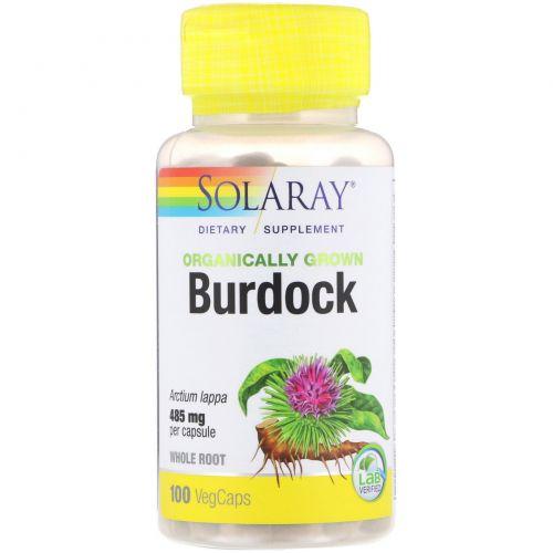 Solaray, Organically Grown Burdock, 485 mg, 100 VegCaps