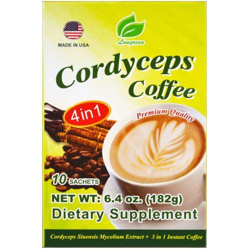 Longreen Corporation, 4 in 1 Cordyceps Coffee, 10 Sachets, 6.4 oz (182 g)