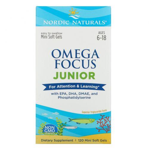 Nordic Naturals, Omega Focus Junior, 120 маленьких мягких капсул