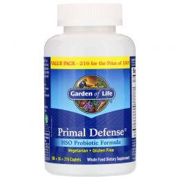 Garden of Life, Primal Defense, формула с пробиотиками ГПО, 216 капсуловидных таблеток